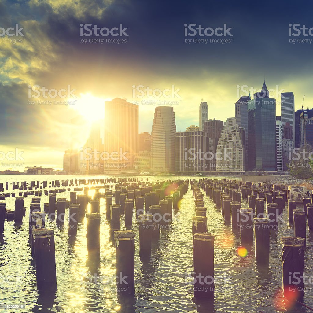 Sunset over New York City royalty-free stock photo
