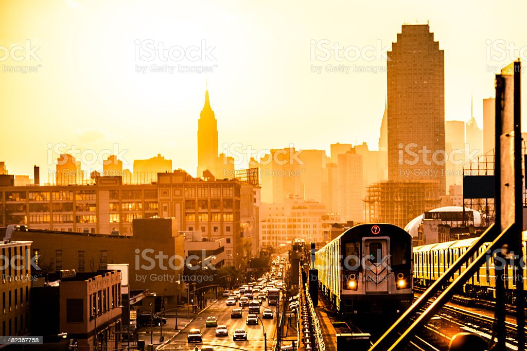Sunset over New York skyline stock photo