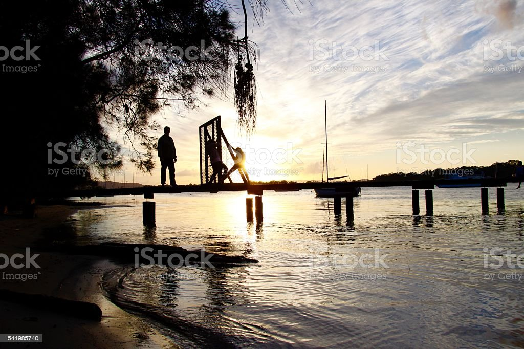Sunset over Noosa River Jetty. stock photo