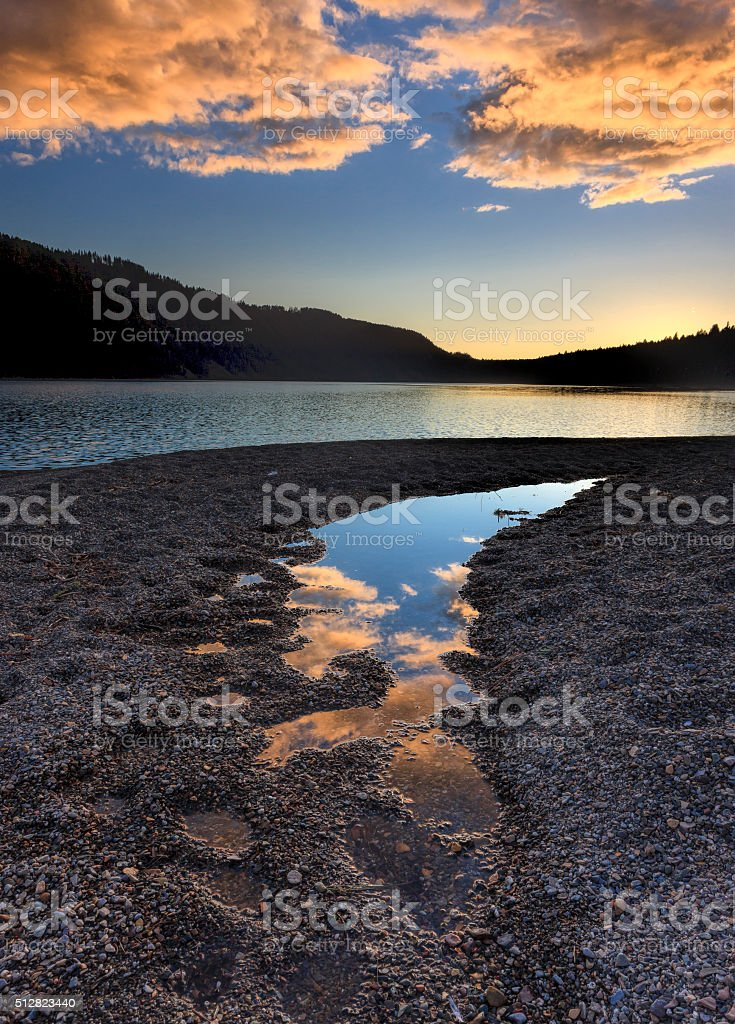 Sunset over north Idaho lake. stock photo