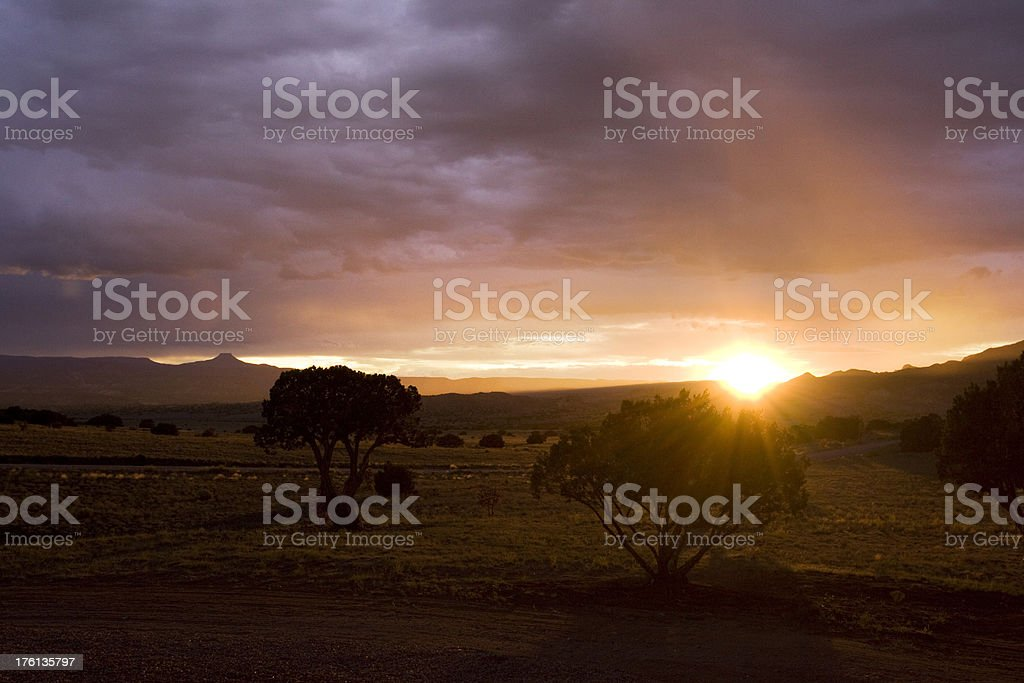 Sunset over north New Mexico stock photo