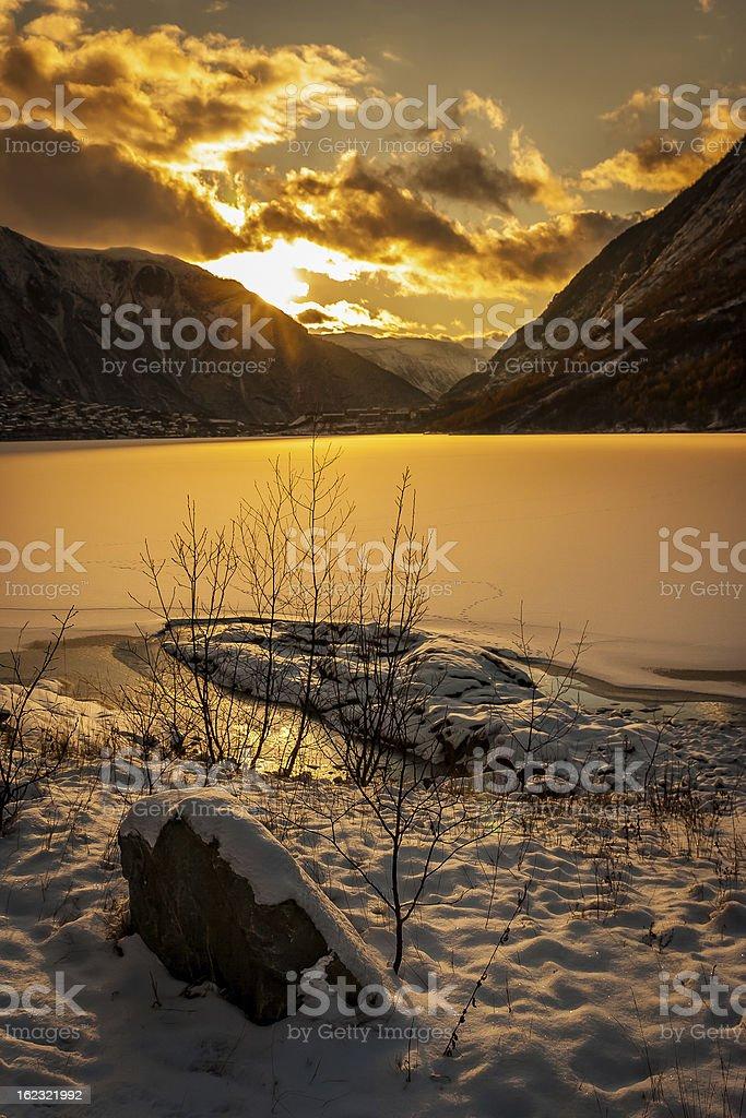 Sunset over norwegian fjord royalty-free stock photo