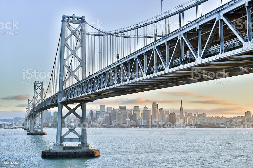 Sunset over Oakland-San Francisco Bay Bridge and San Francisco Skyline stock photo