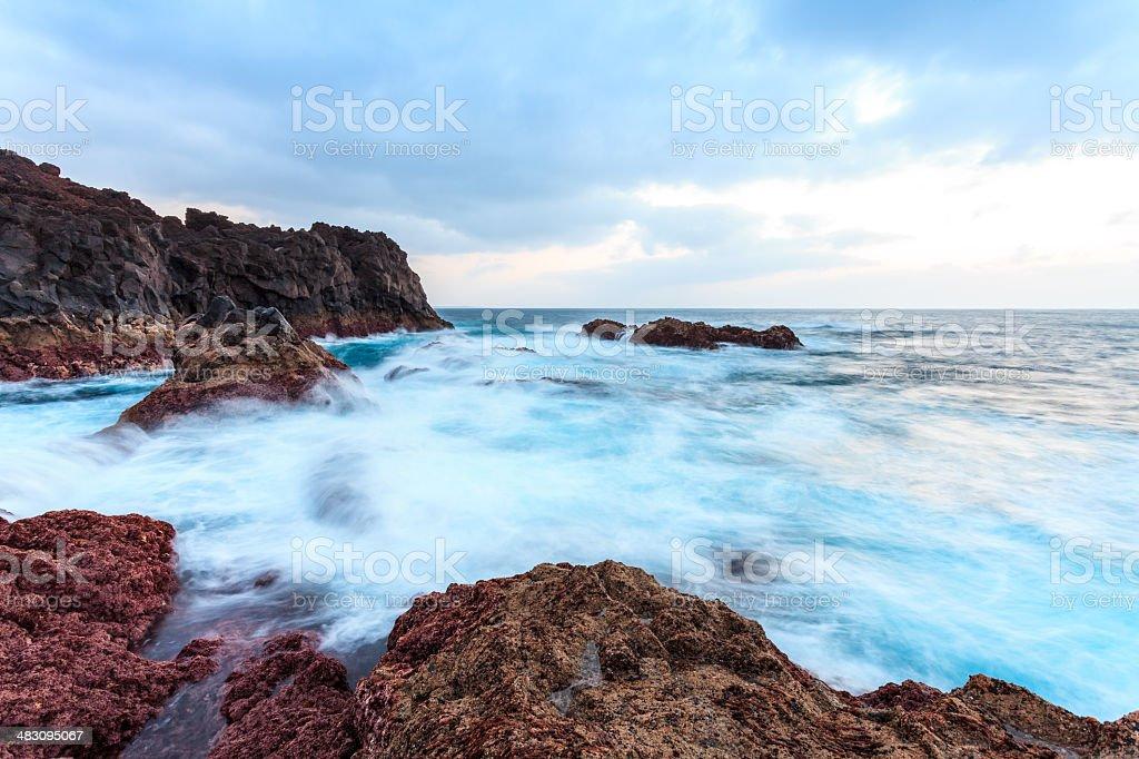 Sunset over ocean - Lanzarote Hervideros stock photo