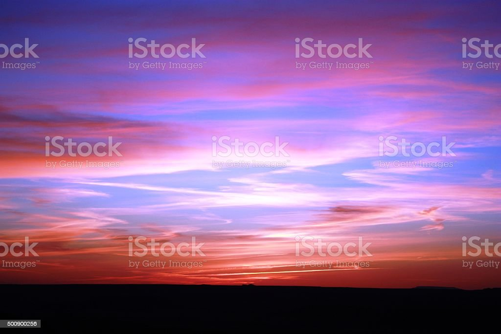 Sunset over Painted Desert in Petrified Forest National Park, USA stock photo
