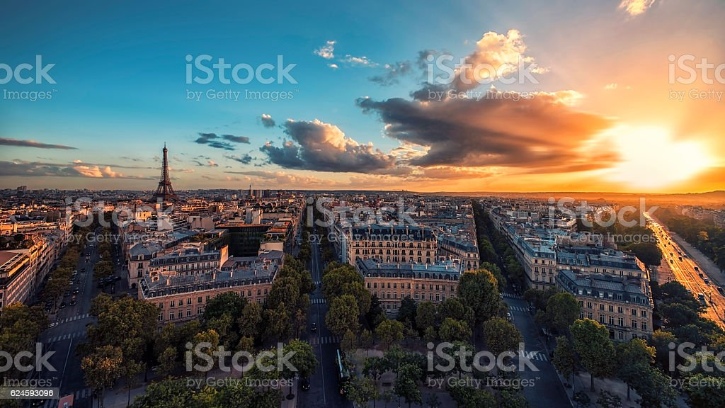 Sunset over Paris and the Eiffel tower stock photo