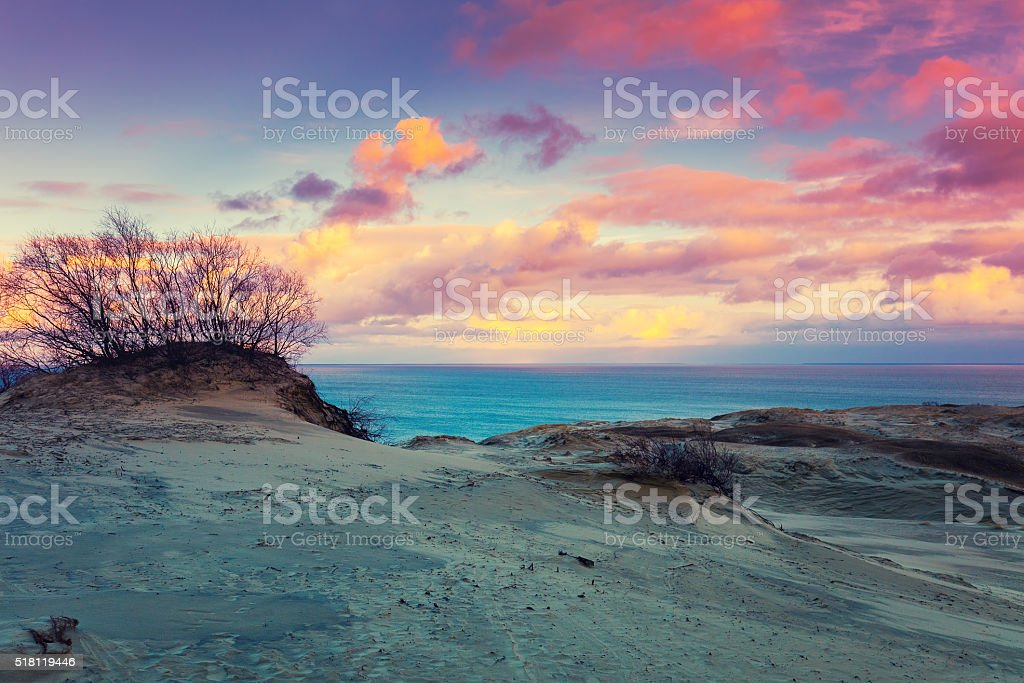 Sunset over Parnidis dune in autumn stock photo