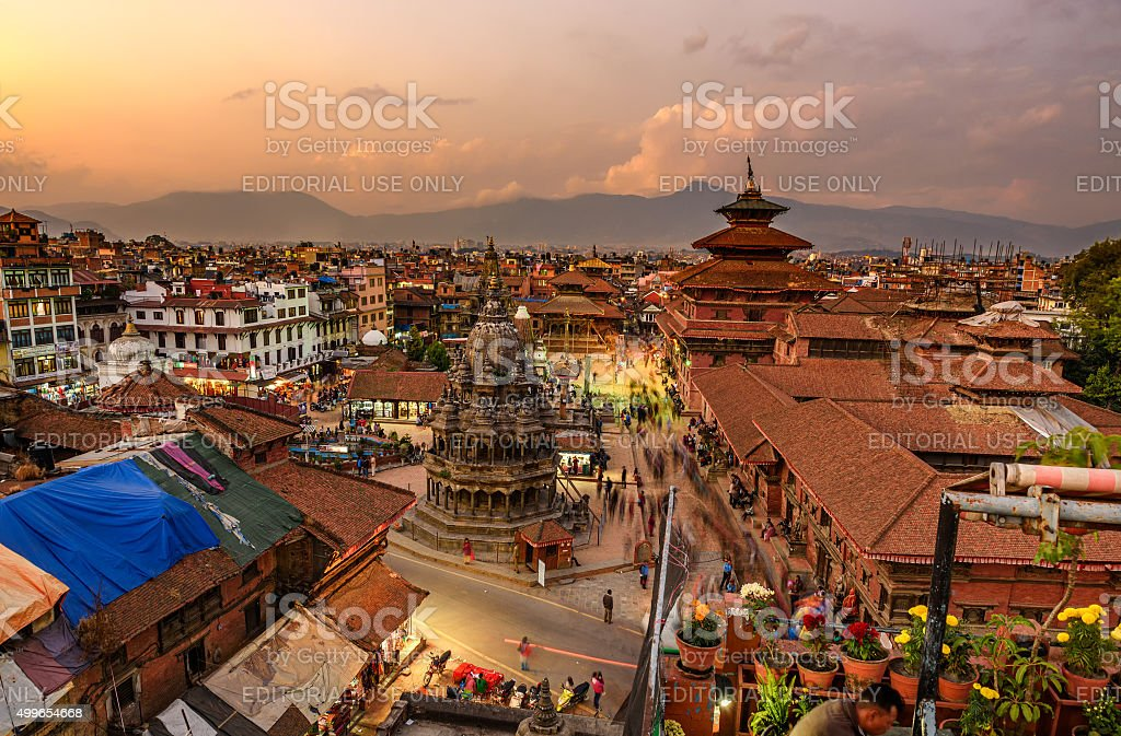 Sunset over  Patan Durbar Square in Kathmandu, Nepal stock photo