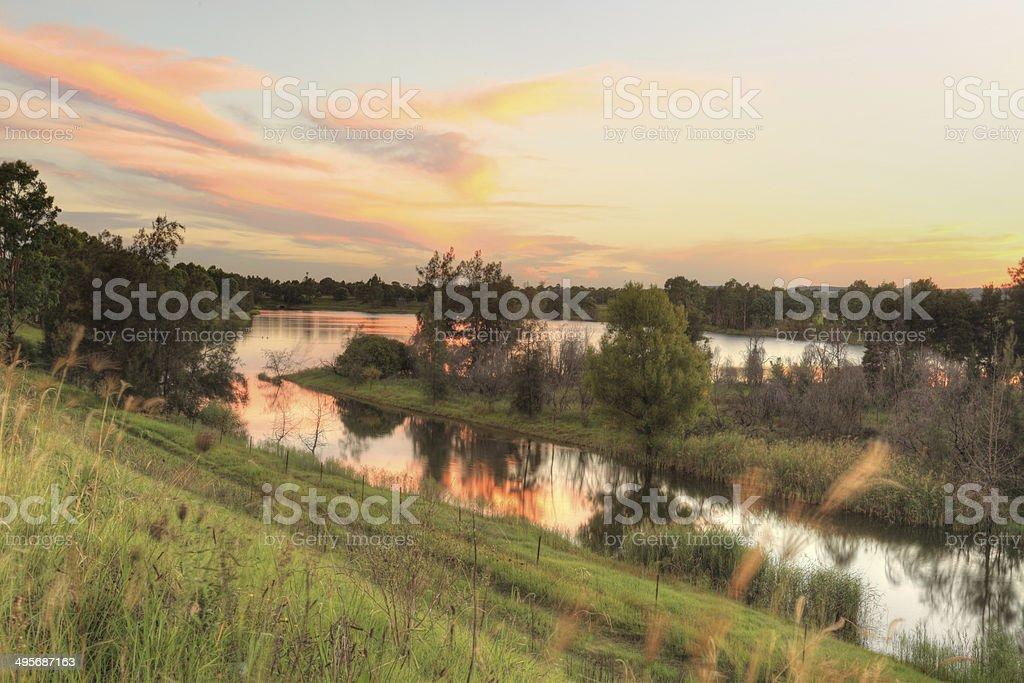 Sunset over Penrith Lakes NSW Australia stock photo