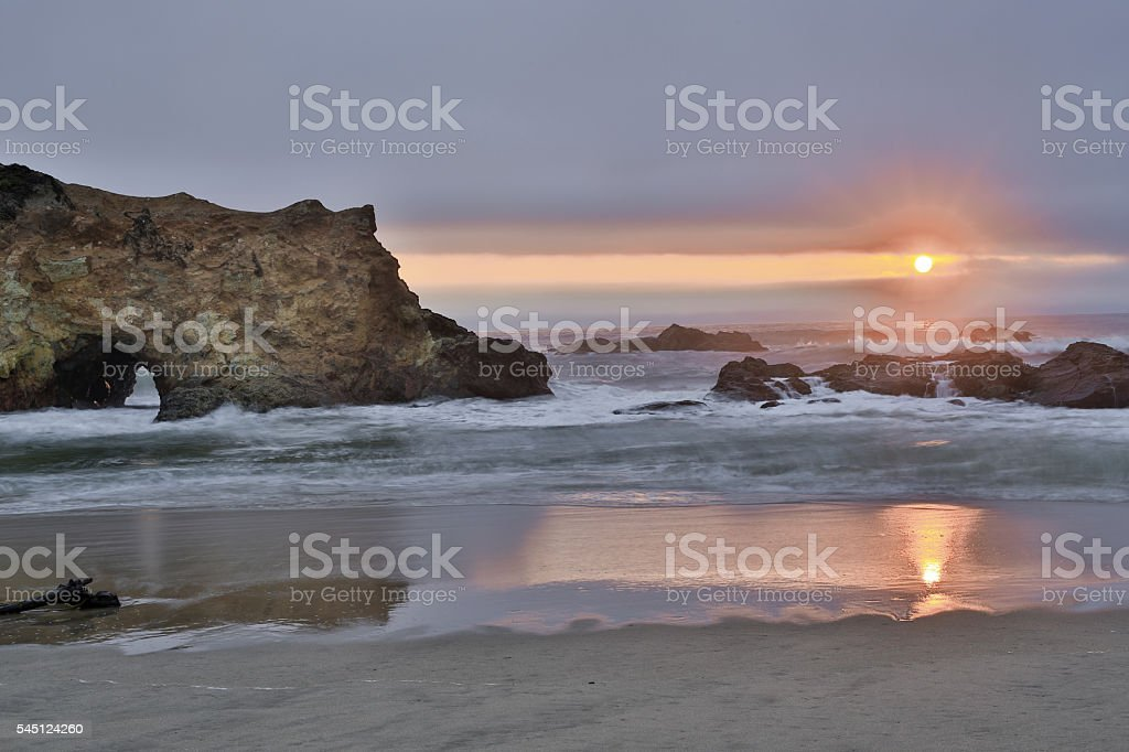 Sunset over Pescadero State Beach in San Mateo County, California stock photo