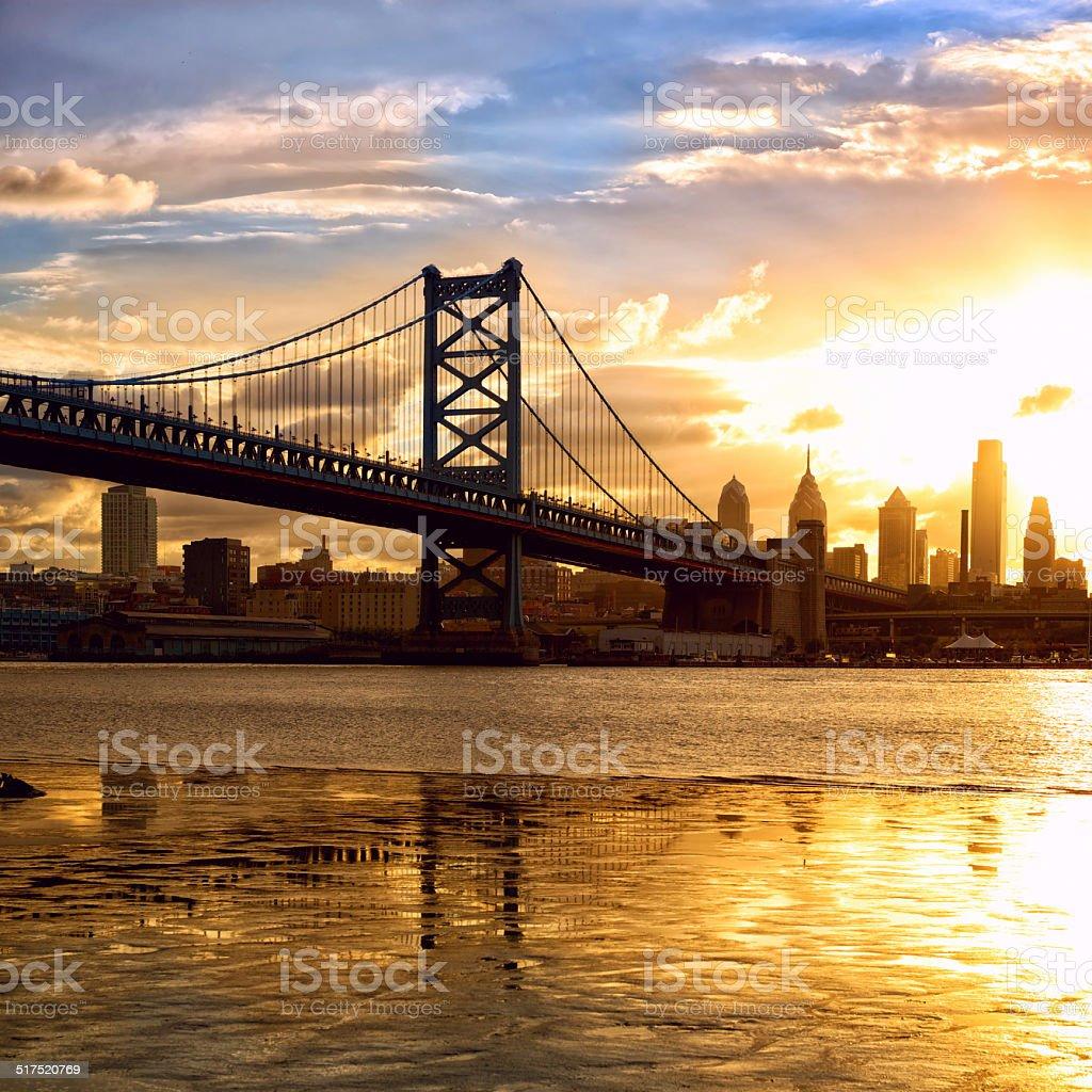 Sunset over Philadelphia stock photo