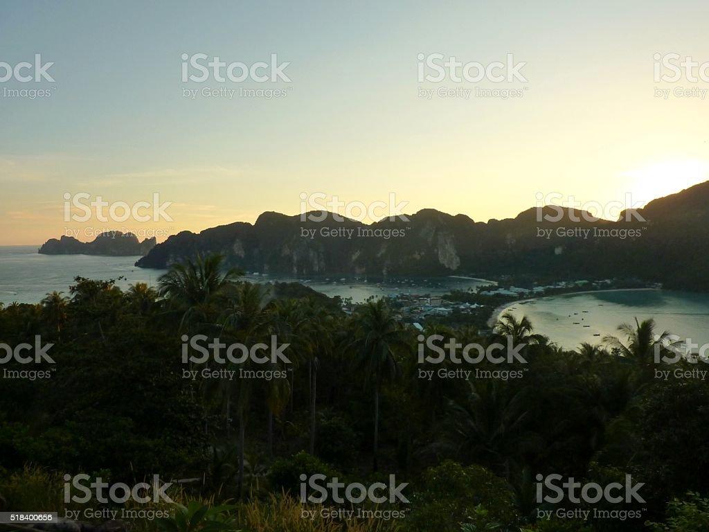 Sunset over Phiphi Island, Thailand stock photo
