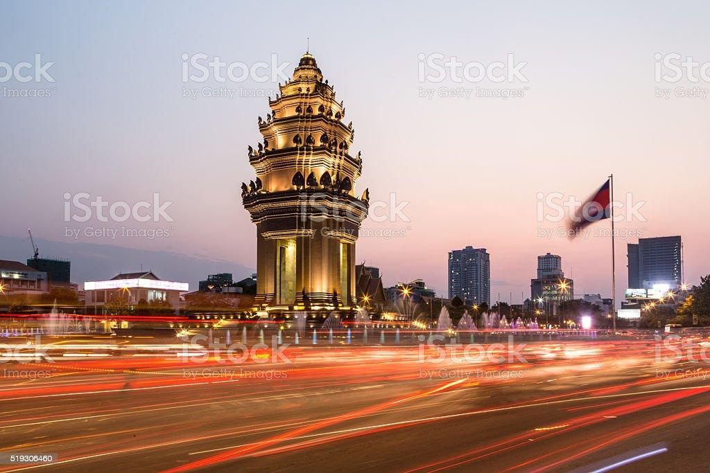 Sunset over Phnom Penh stock photo
