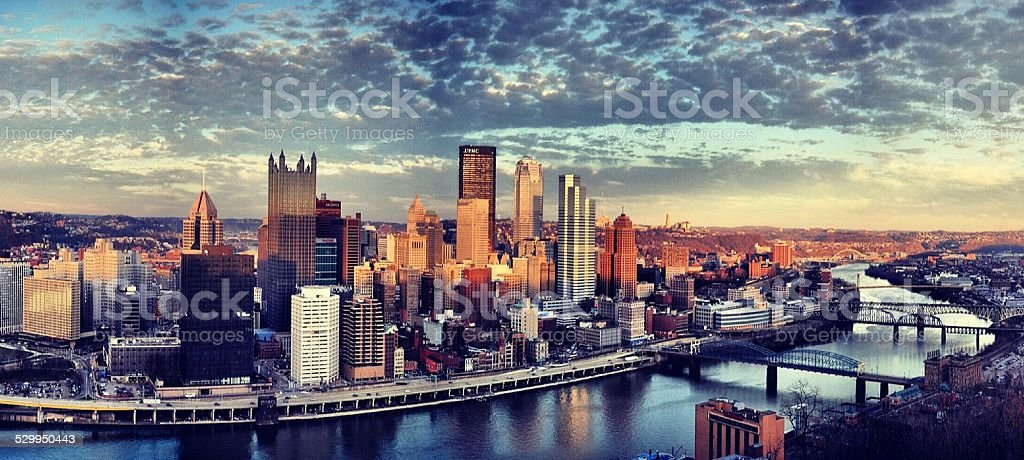 sunset over Pittsburgh stock photo