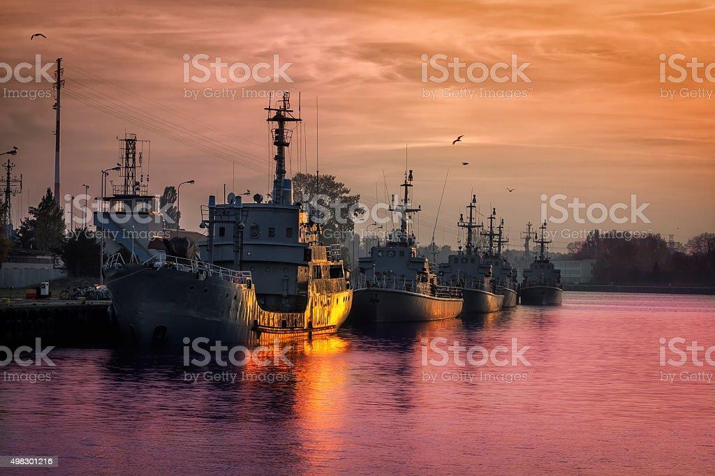 Sunset over Polish Navy stock photo