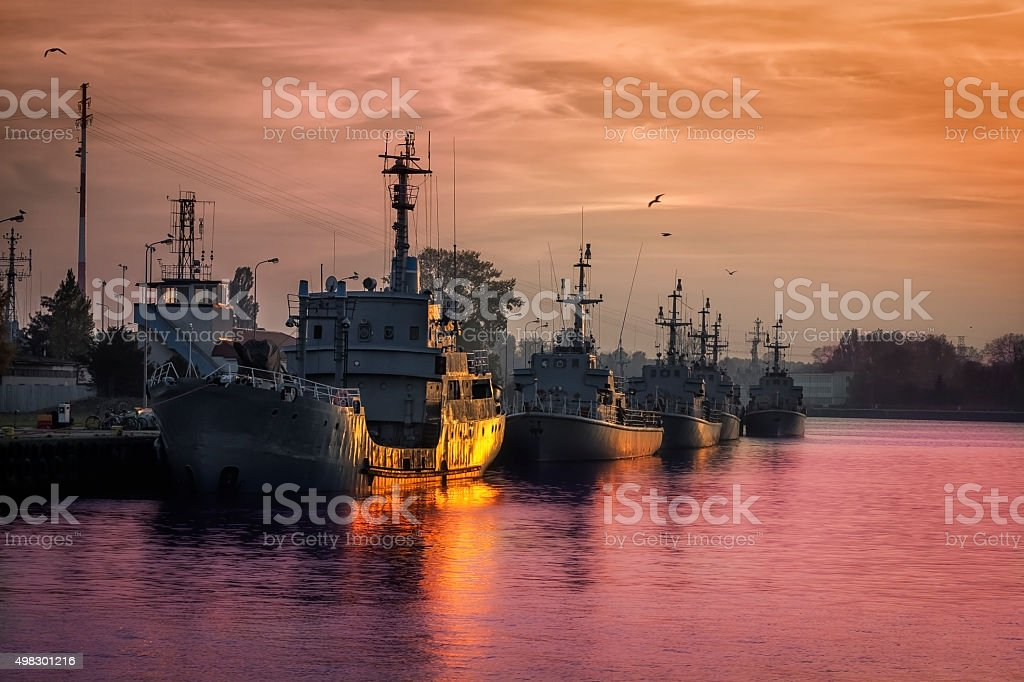 Sunset over Polish Navy stock photo