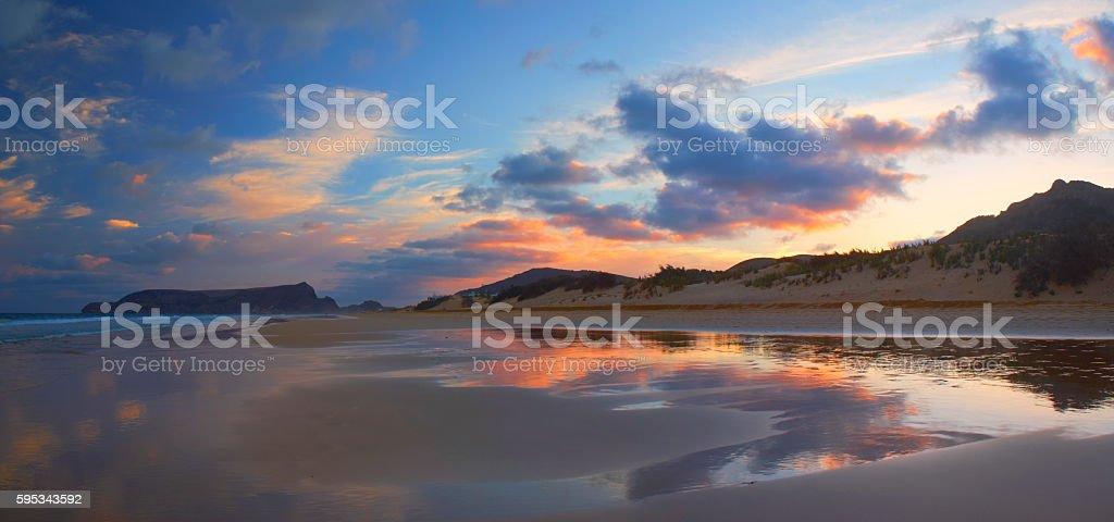 Sunset Over Porto Santo Beach stock photo