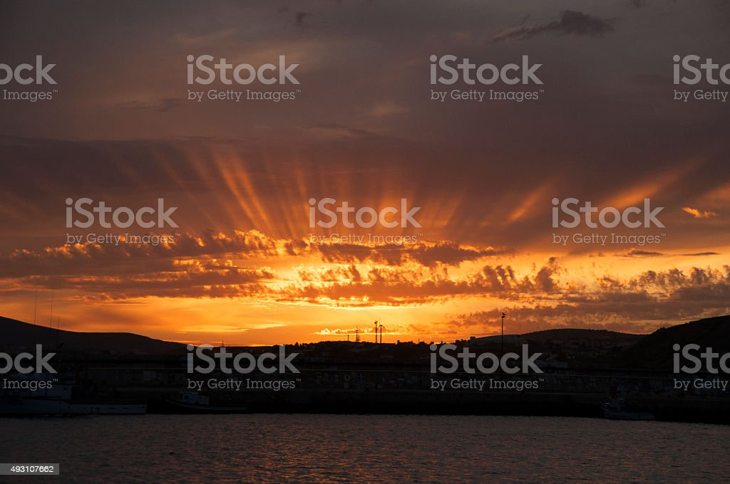Sunset over Porto Santo Marina stock photo