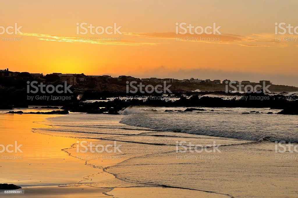 Sunset over Pringle Bay stock photo