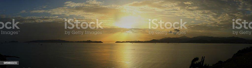 Sunset over Puerto La Cruz Bay stock photo