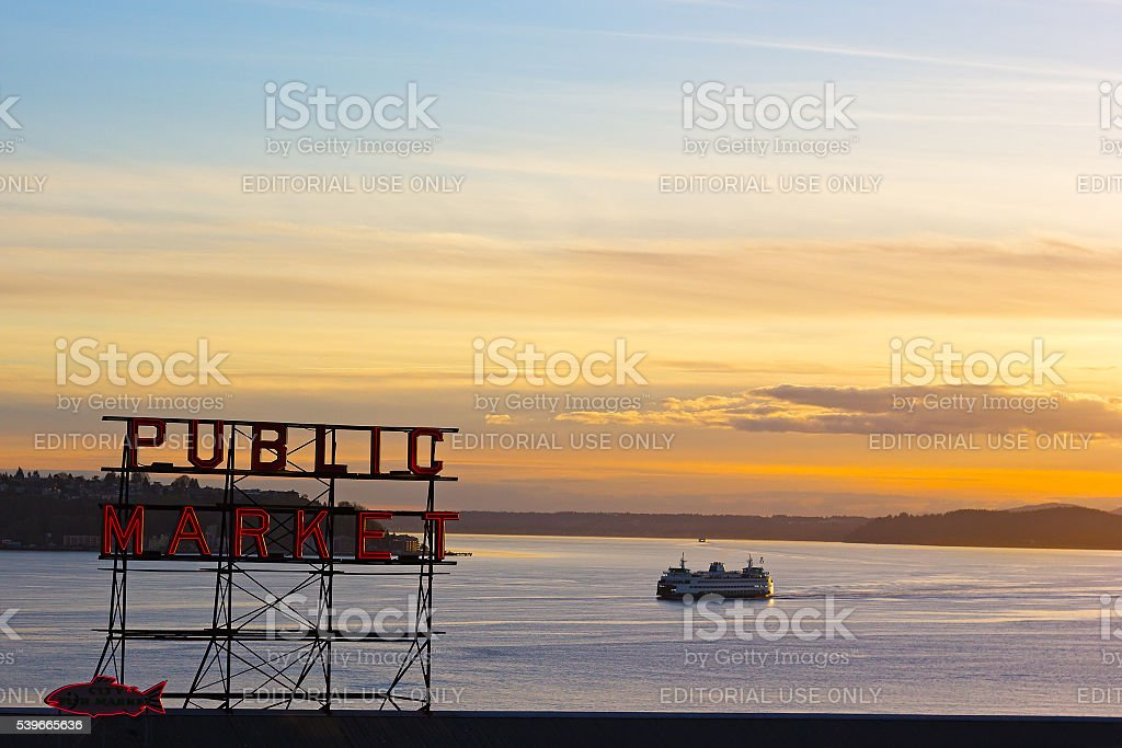Sunset over Puget Sound in Seattle downtown stock photo