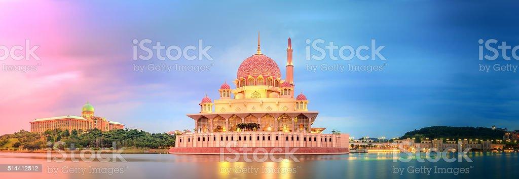 Sunset over Putrajaya Mosque, Kuala Lumpur stock photo