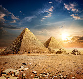 Sunset over pyramids