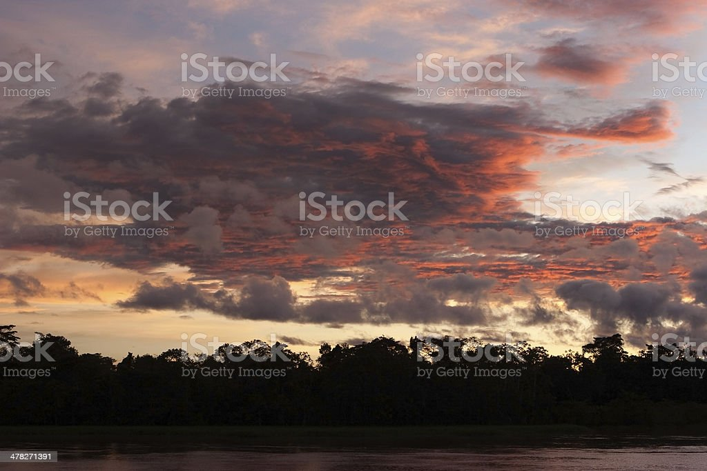 Sunset over rainforest and Amazon River stock photo