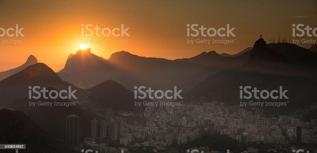 Sunset over Rio de Janeiro Mountains stock photo