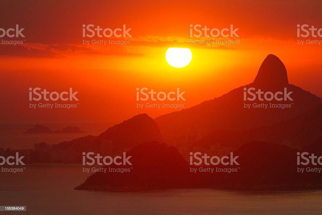 Sunset Over Rio de Janeiro royalty-free stock photo