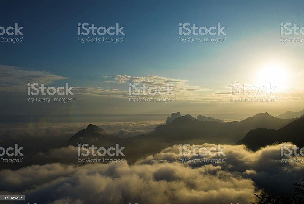 Sunset over Rio (with flares) royalty-free stock photo