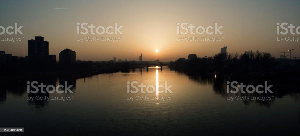 Sunset over River Main, Frankfurt - Germany stock photo
