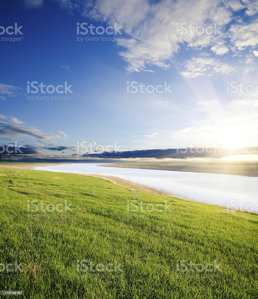sunset over river royalty-free stock photo