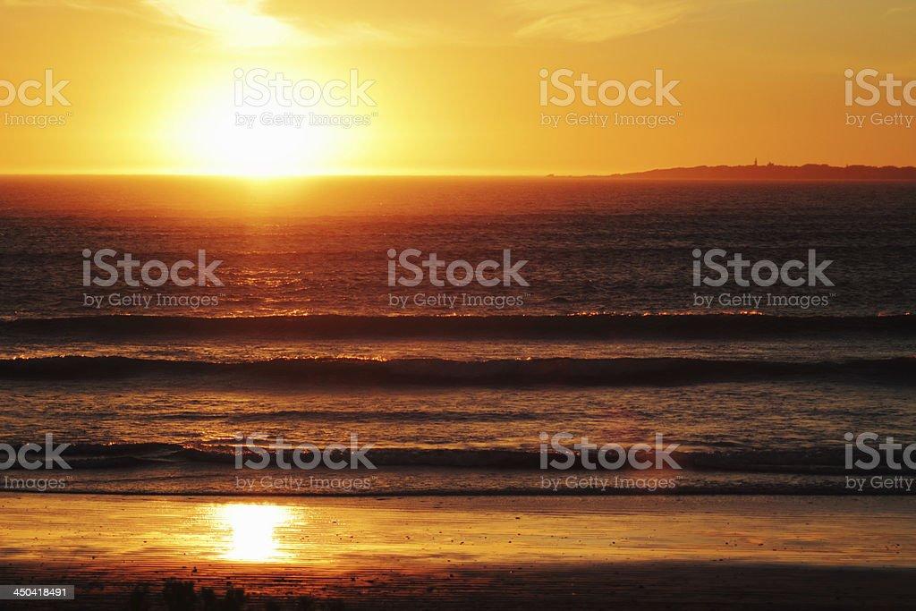 Sunset over Robben Island stock photo