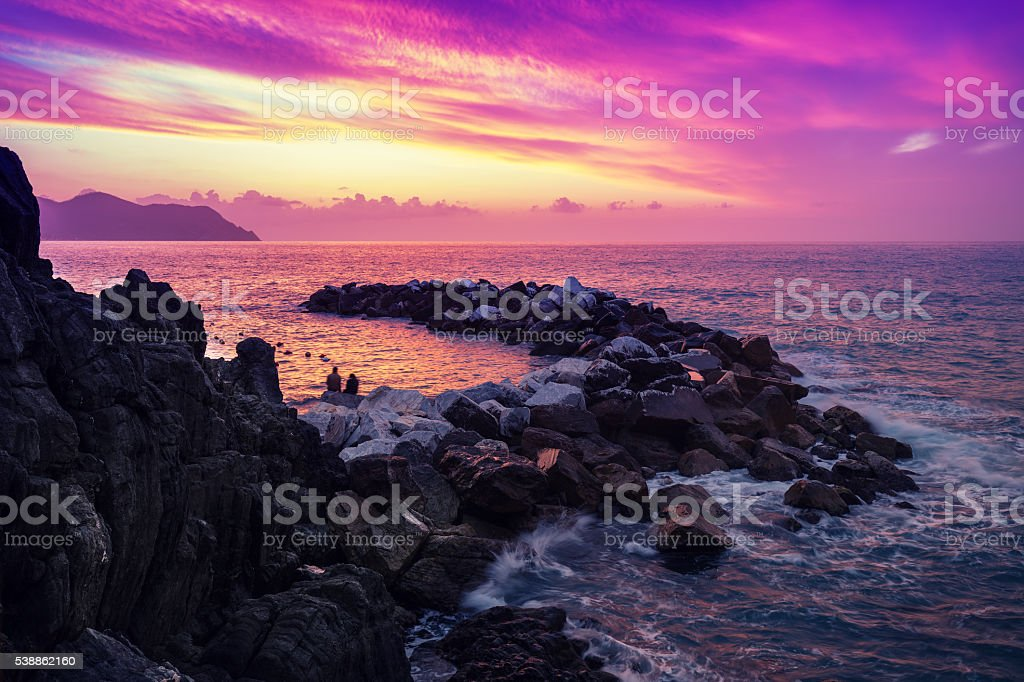 Sunset over rocky coast. Cinque Terre stock photo