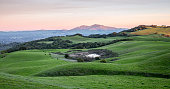 Sunset over Rolling Grassy Hills and Diablo Range of California