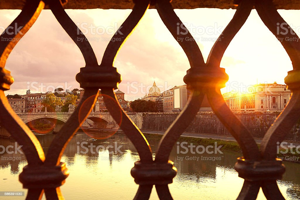 Sunset over Rome view from the bridge stock photo