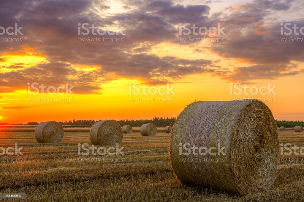 Sunset over rural road and hay bales stock photo