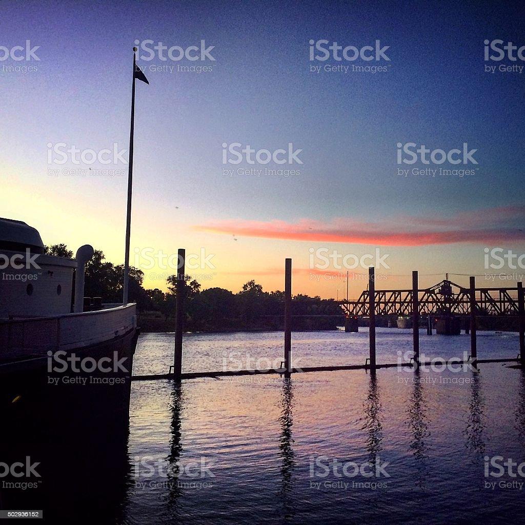Sunset over Sacramento River stock photo