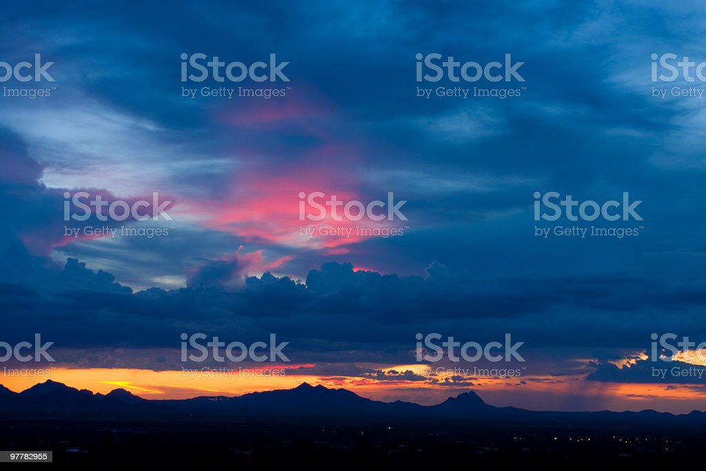 Sunset over Saguaro National Park in Tucson area stock photo