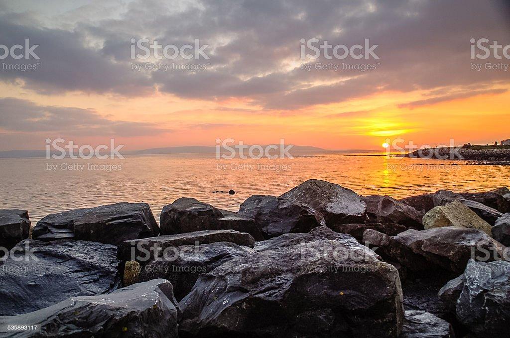Sunset over Salthill,Ireland stock photo