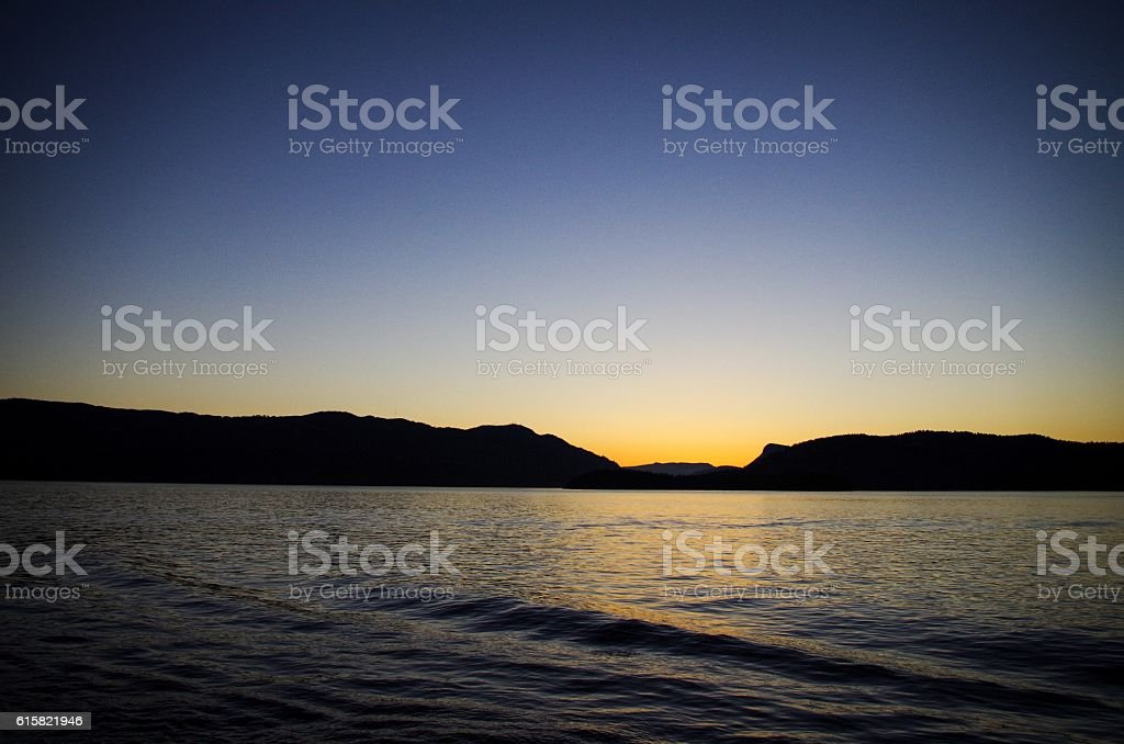 Sunset over Saltspring Island stock photo