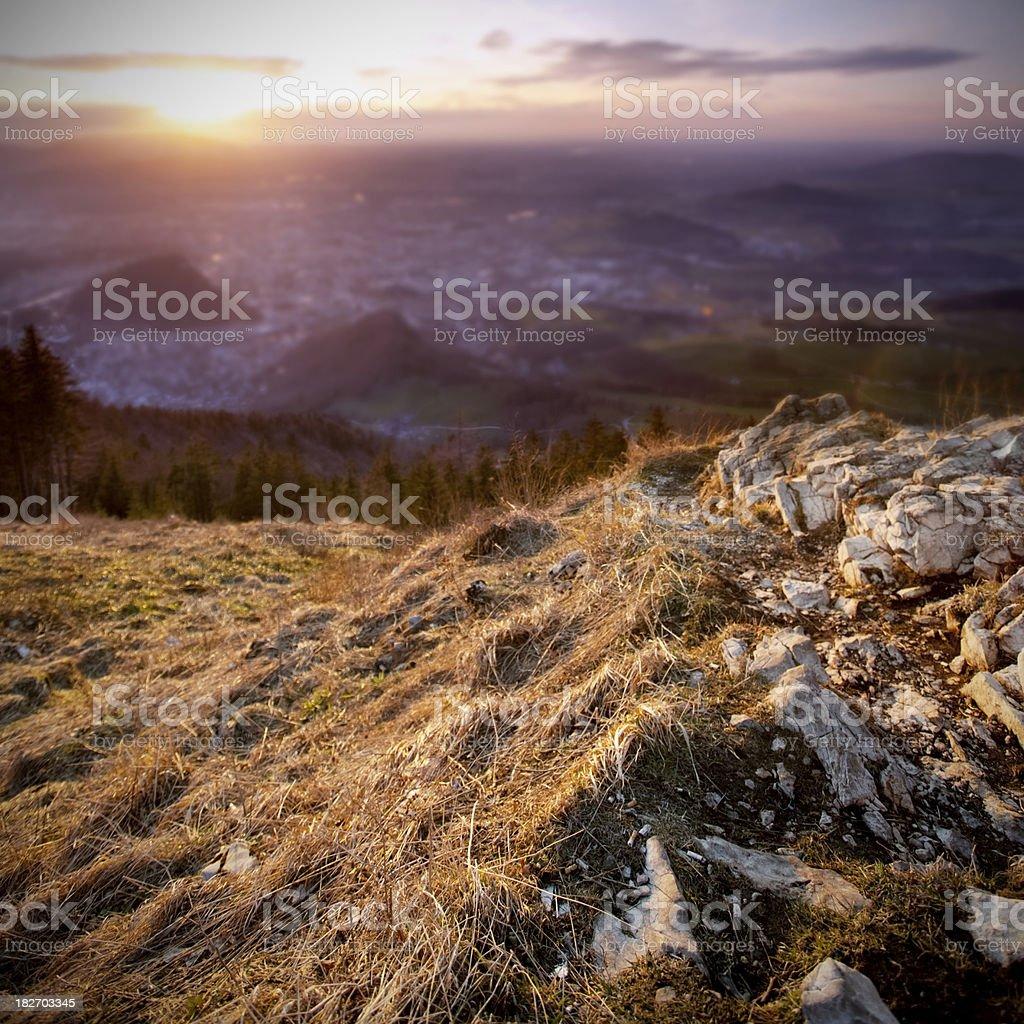 Sunset over Salzburg stock photo