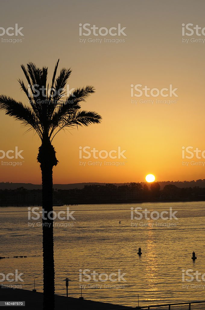 Sunset over San Diego Harbor royalty-free stock photo