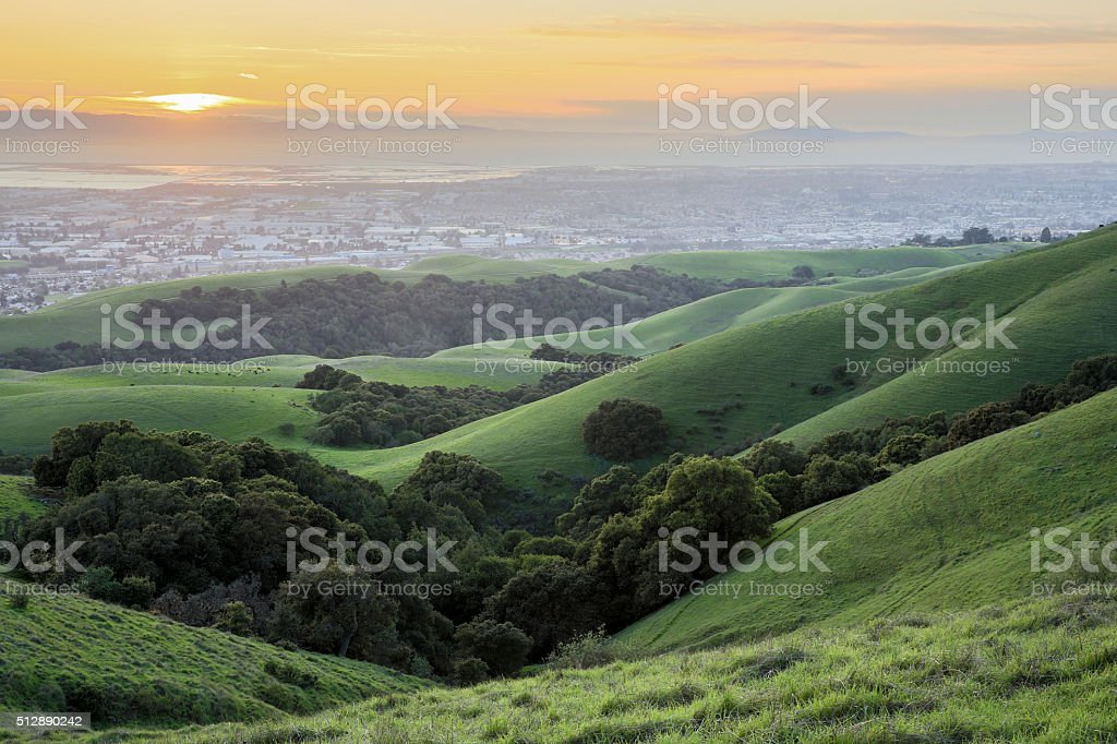 Sunset over San Francisco Bay Area stock photo