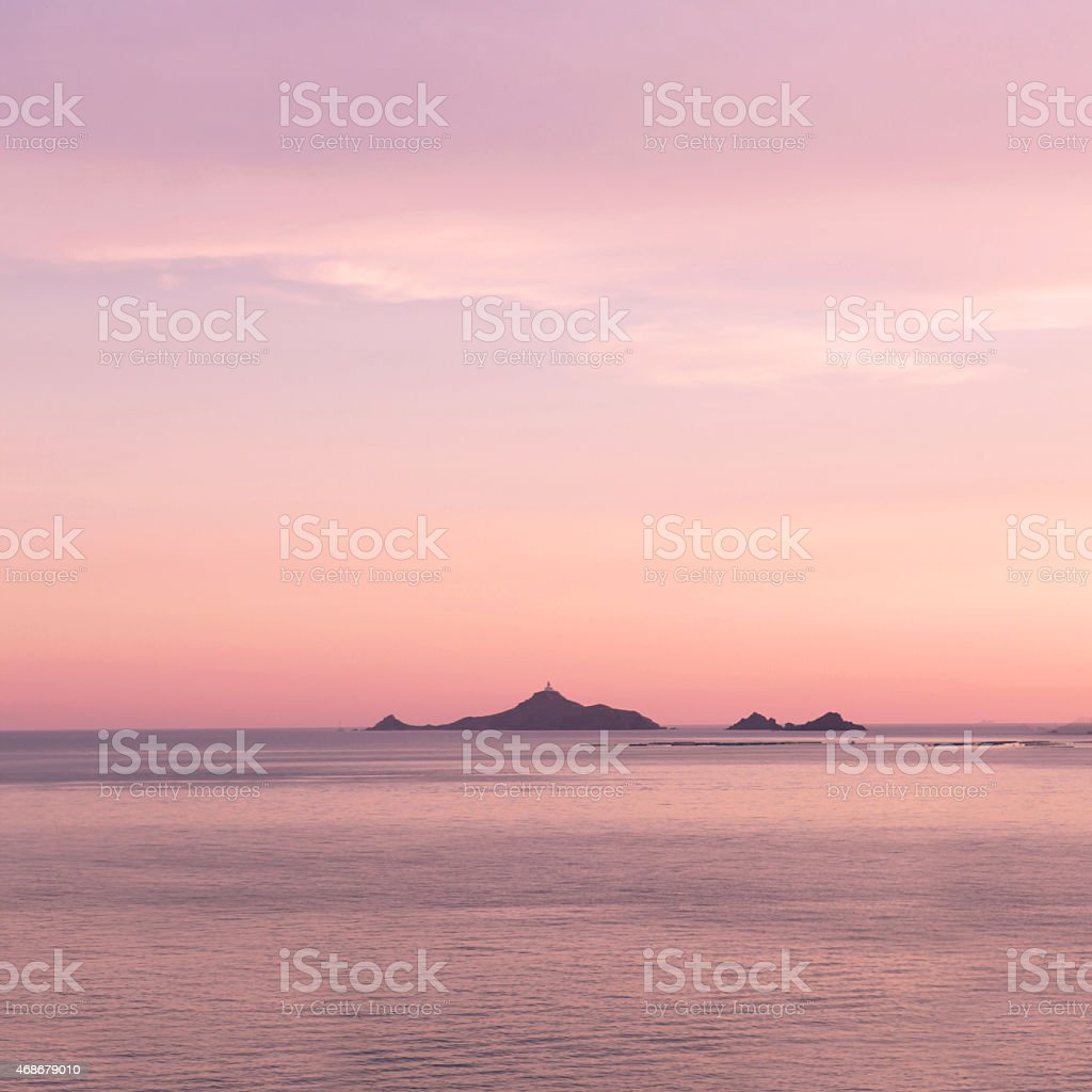 Sunset over Sanguinaires Islands in Corsica France stock photo