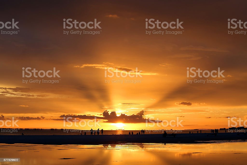 Sunset over Sanibel Island, Florida, USA stock photo