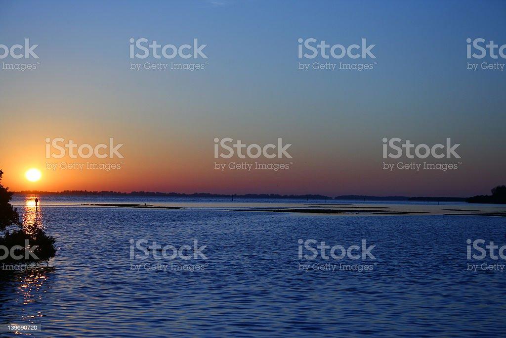 sunset over sarasota bay stock photo