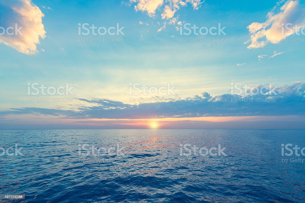 Sunset over sea. stock photo