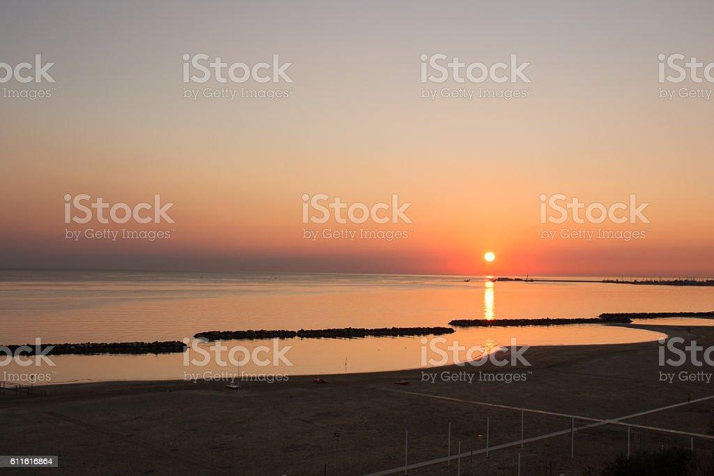 Sunset over sea stock photo